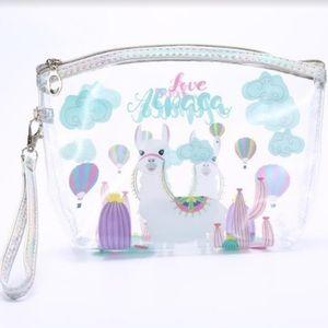 Handbags - Cute Love Alpaca Clear Cosmetic Zip Top Bag's